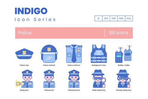 طرح لایه باز ست آیکون پلیس 88 Police Icons