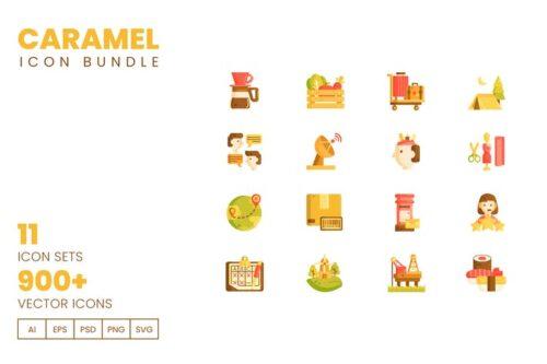طرح لایه باز ست آیکون صنعت و ارتباطات 900+ Vector Icons Bundle - Caramel Series