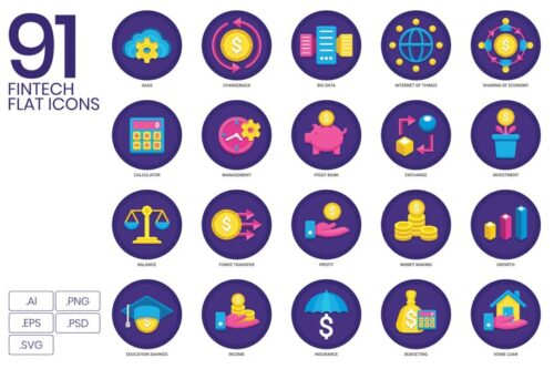 طرح لایه باز ست آیکون سرمایه گذاری 91 Fintech & Financial Icons