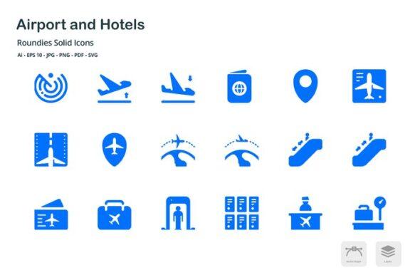 طرح لایه باز ست آیکون فرودگاه و هتل Airport and Hotels Roundies Solid Glyph Icons