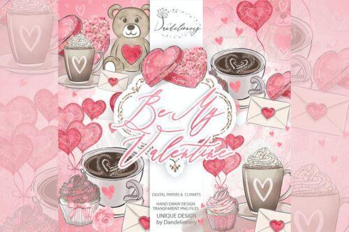 طرح لایه باز تصویر پس زمینه ولنتاین Be My Valentine design