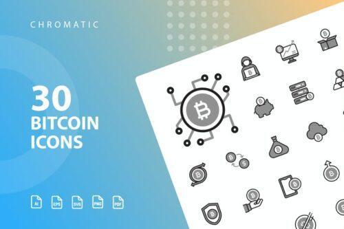 طرح لایه باز ست آیکون بیت کوین Bitcoin Chromatic