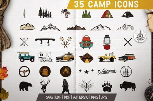 طرح لایه باز ست آیکون کمپینگ Camp Adventure Icons Set, Retro Travel Clipart