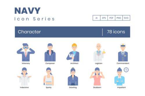 طرح لایه باز ست آیکون کاراکتر زن و مرد Character Icons