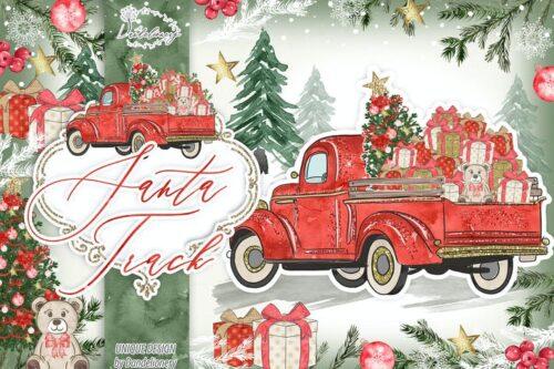 طرح لایه باز تصویر پس زمینه کریسمس Christmas Car design