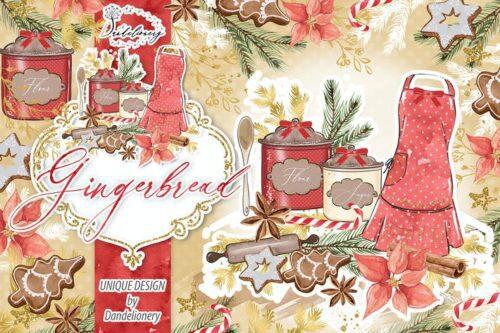 طرح لایه باز تصویر پس زمینه کریسمس Christmas Gingerbread design