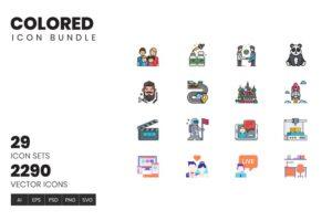 طرح لایه باز ست آیکون زیبایی و سلامت Colored Icon Bundle