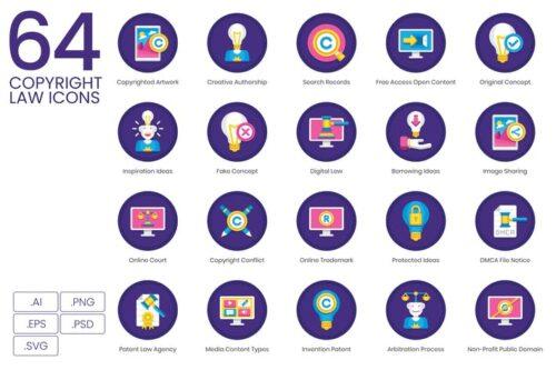 طرح لایه باز ست آیکون قانون کپی رایت Copyright Law Icons
