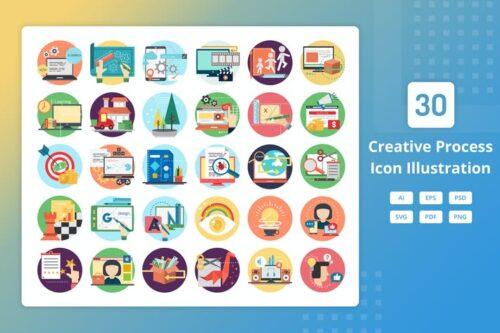 طرح لایه باز ست آیکون تجاری Creative Process - Icon Illustration