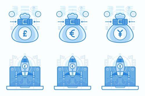 طرح لایه باز ست آیکون سرمایه گذاری و ارز Currencies and Finances UI UX Illustrations