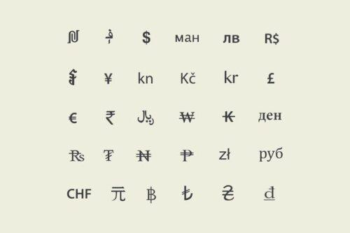 طرح لایه باز ست آیکون پول Currency Symbols