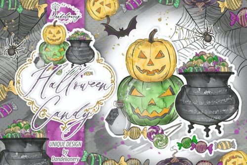 طرح لایه باز تصویر پس زمینه هالووین Cute Halloween design