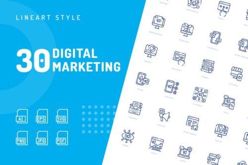 طرح لایه باز ست آیکون دیجیتال مارکتینگ Digital Marketing Line Icons