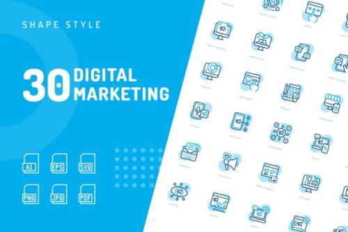طرح لایه باز ست آیکون دیجیتال مارکتینگ Digital Marketing Shape Icons
