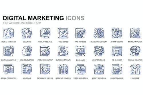 طرح لایه باز ست آیکون دیجیتال مارکتینگ Digital Marketing Thin Line Icons