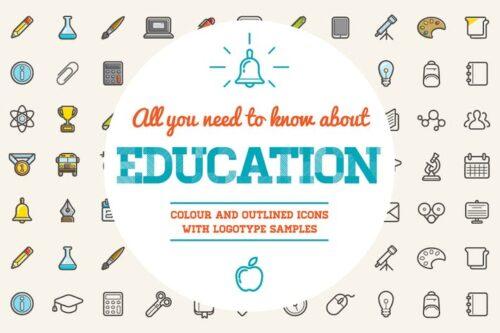 طرح لایه باز ست آیکون آموزش Education Color and Outlined Icons with Logotypes
