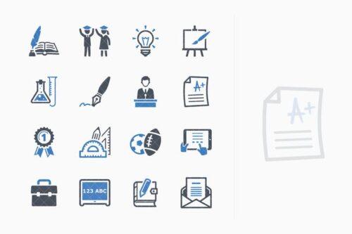 طرح لایه باز ست آیکون آموزش Education Icons Set 4 - Blue Series