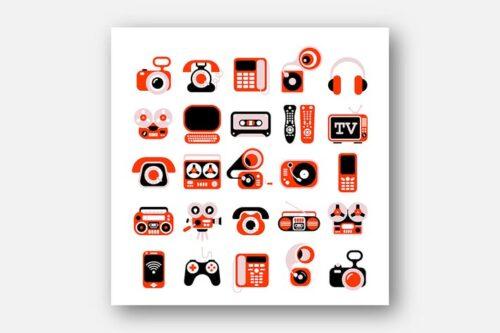 طرح لایه باز ست آیکون وسایل الکترونیکی Electronic Devises Vector Icon Set