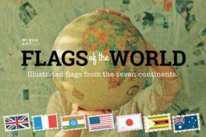طرح لایه باز ست آیکون پرچم کشورها Flags of the World Vector Illustrations