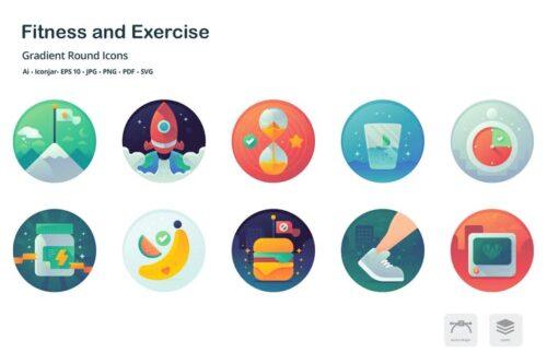طرح لایه باز ست آیکون فیتنس Health and Fitness Gradient Round Icons