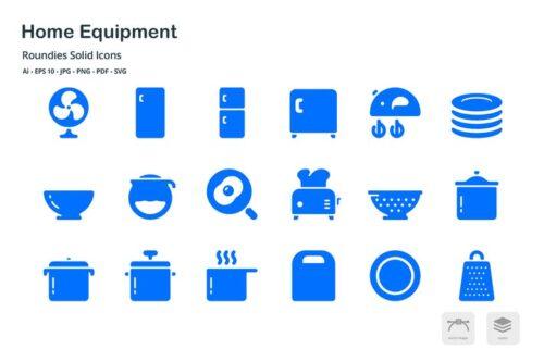 طرح لایه باز ست آیکون لوازم خانگی Home Equipment Roundies Solid Glyph Icons