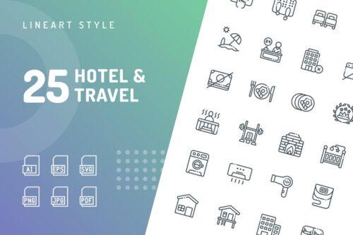 طرح لایه باز ست آیکون هتل و سفر Hotel & Travel Line Icons