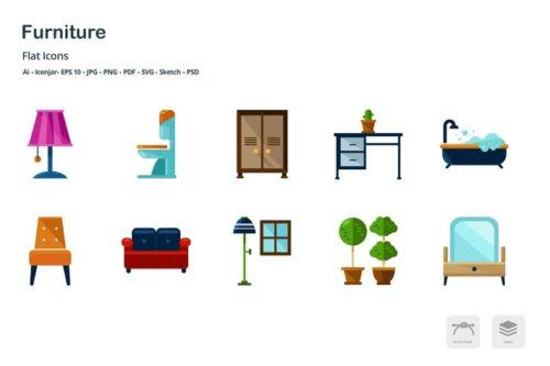 طرح لایه باز ست آیکون مبلمان و کمد Interior Design Furniture Flat Colored Icons