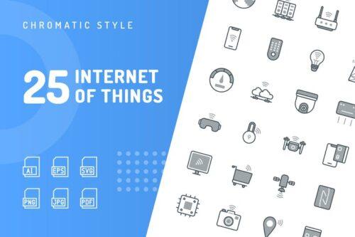 طرح لایه باز ست آیکون اینترنت اشیا Internet of Things Chromatic Icons