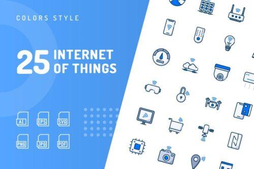 طرح لایه باز ست آیکون اینترنت اشیا Internet of Things Color Icons