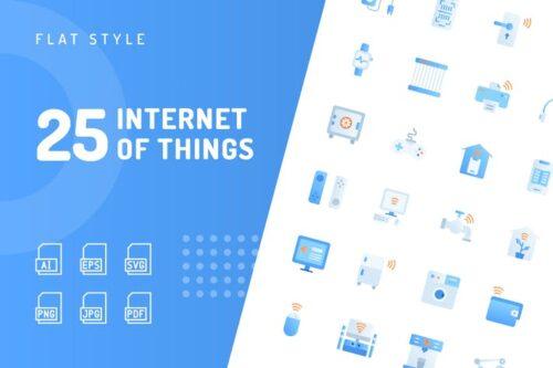 طرح لایه باز ست آیکون اینترنت اشیا Internet of Things Flat Icons