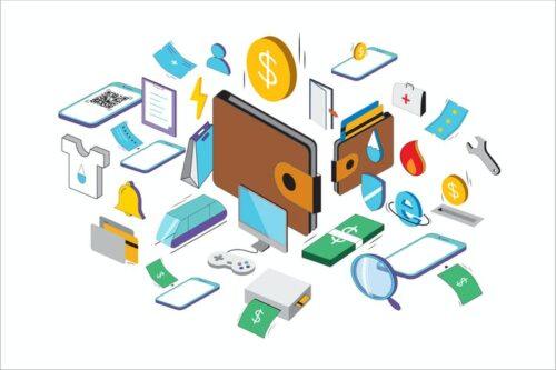 طرح لایه باز ست آیکون کیف پول ایزومتریک Isometric Wallet Icons - TH