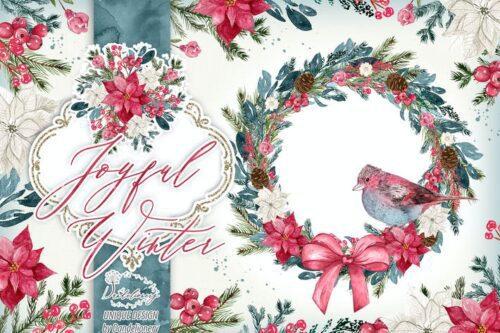 طرح لایه باز تصویر پس زمینه زمستان و کریسمس Joyful Winter design