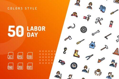 طرح لایه باز ست آیکون روز کارگر Labor Day Color Icons