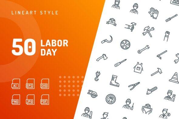 طرح لایه باز ست آیکون روز کارمند Labor Day Line Icons