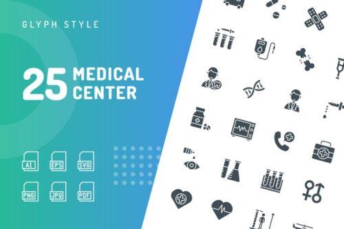 طرح لایه باز ست آیکون مراکز پزشکی Medical Center Glyph Icons