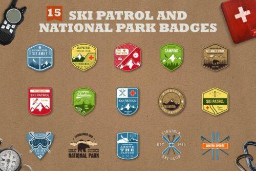 طرح لایه باز ست آیکون کمپینگ Mountain Ski Patrol Logo & Camping Badges