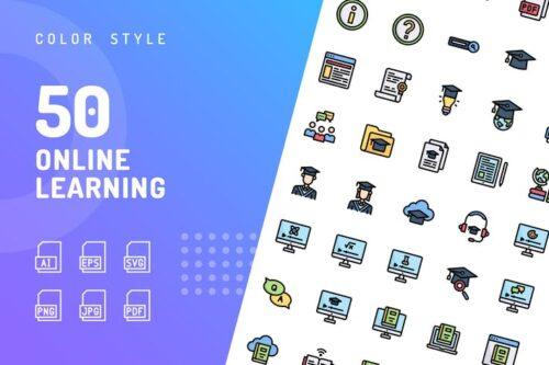 طرح لایه باز ست آیکون آموزش آنلاین Online Learning Color Icons
