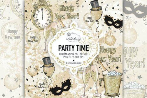 طرح لایه باز تصویر پس زمینه پارتی و جشن Party Time design