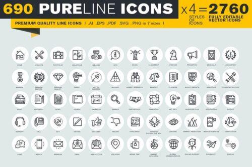 طرح لایه باز ست آیکون تجاری و آموزشی Pure Line Icons