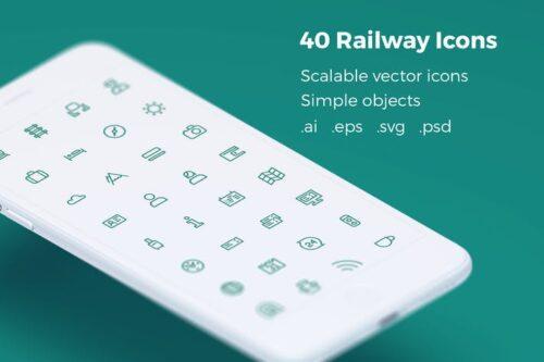 طرح لایه باز ست آیکون بلیط قطار Railway Tickets Booking & Trips - Vector Icons