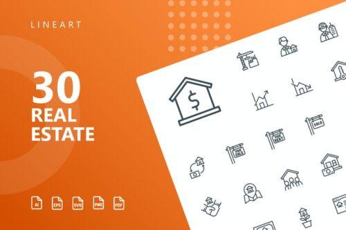 طرح لایه باز ست آیکون املاک Real Estate Line Icons