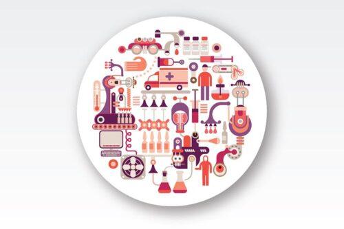 طرح لایه باز ست آیکون تجهیزات آزمایشگاه تحقیقاتی Research Laboratory Equipment round vector design