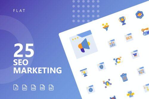 طرح لایه باز ست آیکون سئو مارکتینگ SEO Marketing Flat Icons