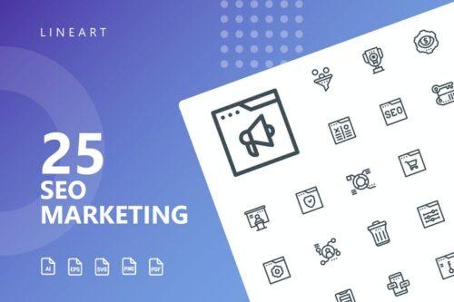 طرح لایه باز ست آیکون سئو مارکتینگ SEO Marketing Line Icons