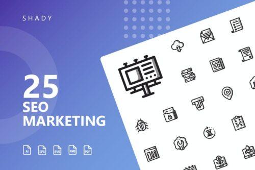 طرح لایه باز ست آیکون سئو مارکتینگ SEO Marketing Shady Icons