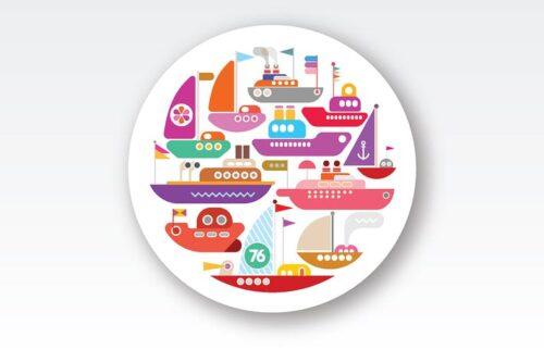 طرح لایه باز ست آیکون کشتی Ships and Yachts round shape vector design