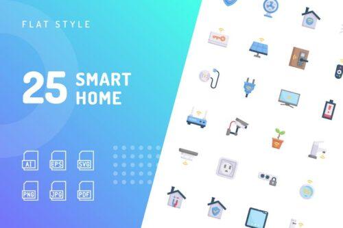 طرح لایه باز ست آیکون خانه هوشمند Smart Home Flat Icons
