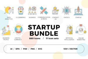 طرح لایه باز ست آیکون استارتاپ Startup Bundle 800+ Icons