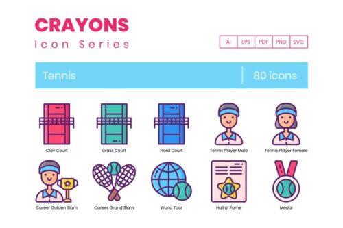 طرح لایه باز ست آیکون تنیس Tennis Icons