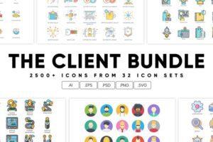 طرح لایه باز ست آیکون تجاری The Client Bundle 2,500+ Icons